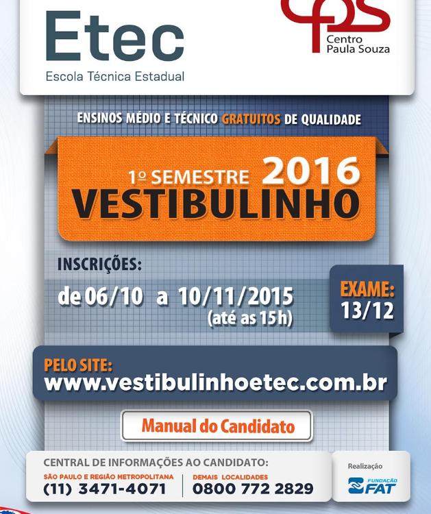 Inscrição Vestibulinho Etec 2016 - 1º Semestre